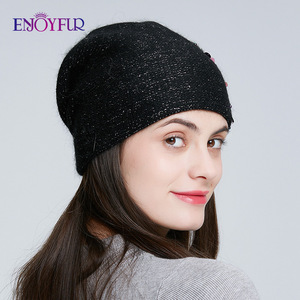 Image 4 - ENJOYFUR Winter knitted double layer hats for women fashion sequins and rhinestones  beanies female thick warm 2019 new caps