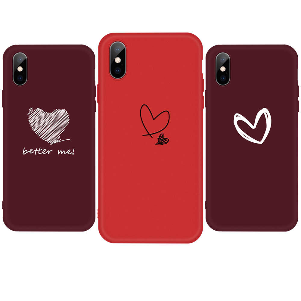 Lovely Mini Heart Cases For iPhone 11 Pro 11Pro Max 10 X XS MAX XR 8 6 6S 7 Plus 5 5S SE Wine Red TPU Cover For iphone 11 2019