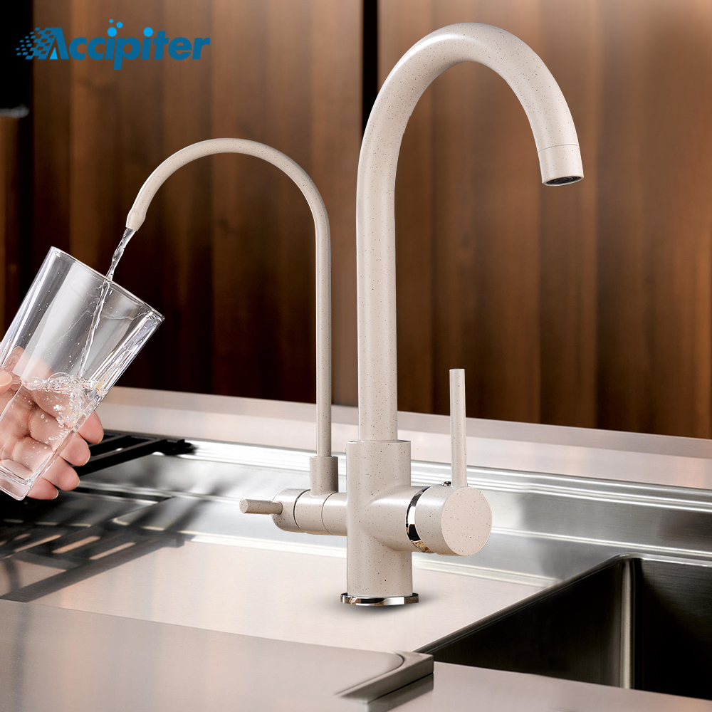 Filter Kitchen Faucet Countertop Single-Hole Installation Mixer Tap 360-Degree Rotating Kitchen Tap