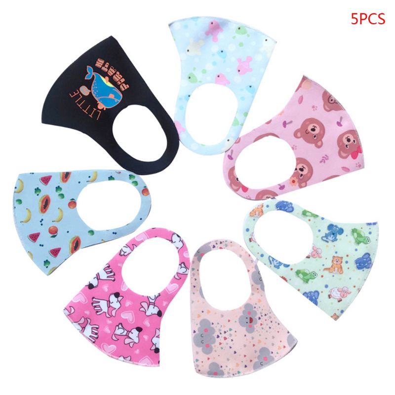 5Pcs Kids Children's Reusable Face Mouth Mask Cartoon Printing Dustproof And Breathable Washable Ice Silk Cotton Masks 26x12cm