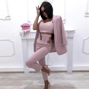 Taotrees Mulheres Solid Color Blazer Pant Ternos Senhora Do Escritório Jaqueta e Sling Tops e Calças de Três Peças Conjuntos de Vestuário de Trabalho