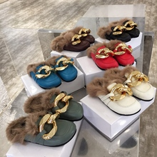 Gold chianFur Slippers Women Furry Slides Summer Fluffy Slippers House Shoes Woman Real Fur Slides Home Wholesale Women Slippers