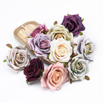 2/5/10 Pieces 8CM European roses head wedding decorative flowers wall bridal accessories clearance artificial flowers wholesale image