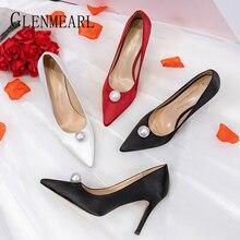 Women High Heels Silk Pumps Woman Shoes Pearl White Black Br