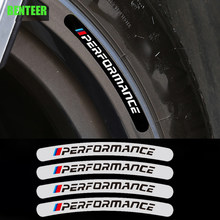 4pcs Power Performance M Car Wheel Sticker For BMW E34 E36 E60 E90 E46 E39 E70 F10 F20 F30 X5 X6 X1 M3 M5 M6 E71 F01 F02 F87