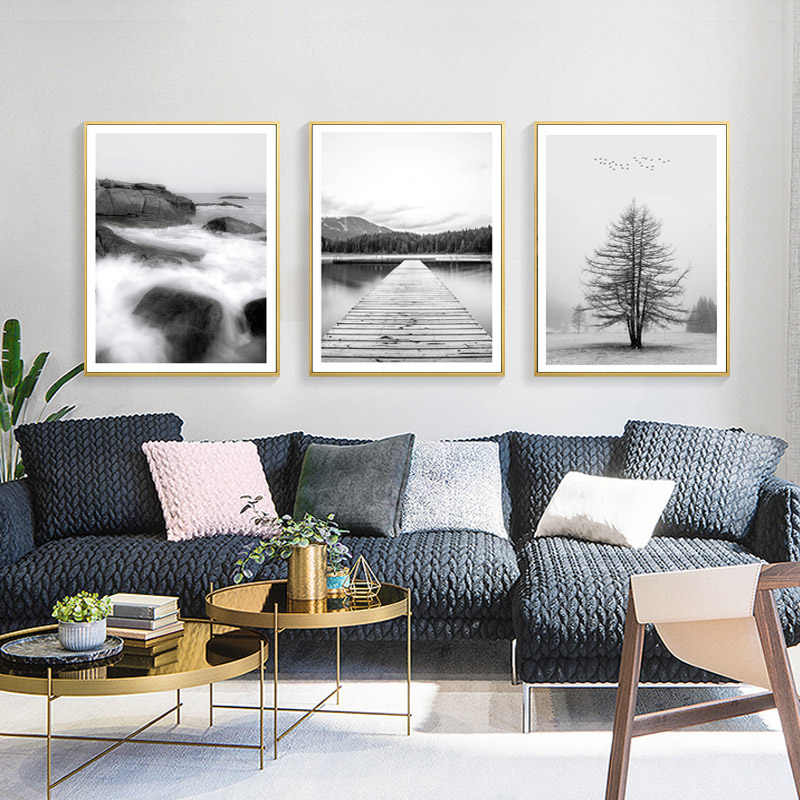 Nordic Poster Black And White Prints Landscape Posters And Prints Forest Wall Art Canvas Painting Decorative Picture Unframed