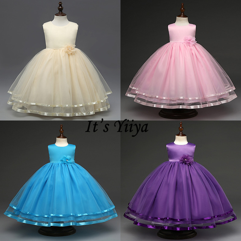 It's YiiYa   Flower     Girl     Dresses   8 Colors Elegant Sleeveless O-Neck Sashes Floor Length Pageant   Dresses   Kids party Ball Gown B815