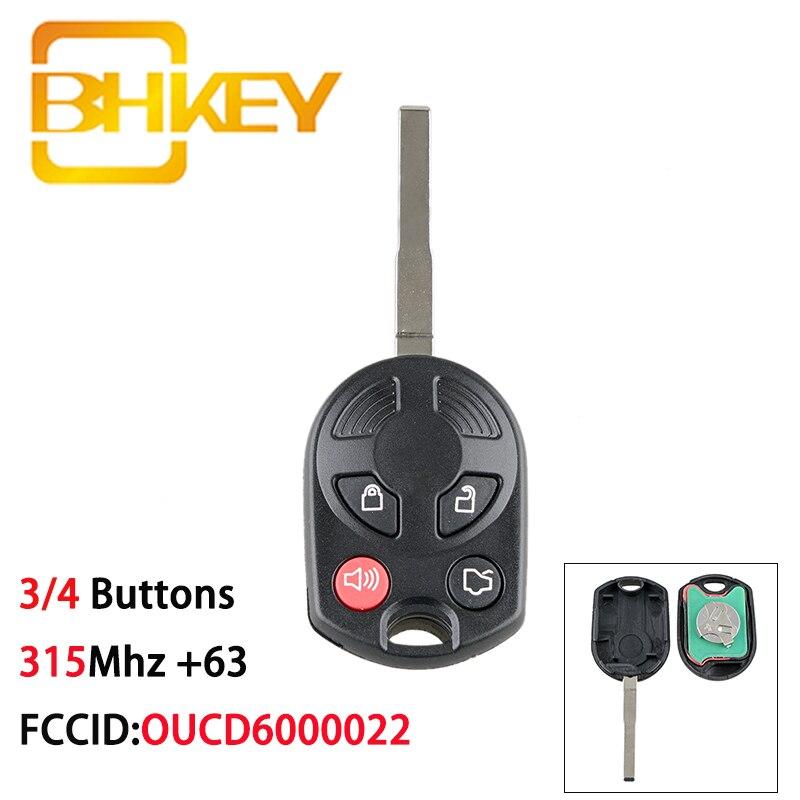 Bhkey oucd6000022 chave remota para carros, 315mhz, para ford key, ford c-max, edge, focus ford mazda mercury chave de carro de 3/4 botões