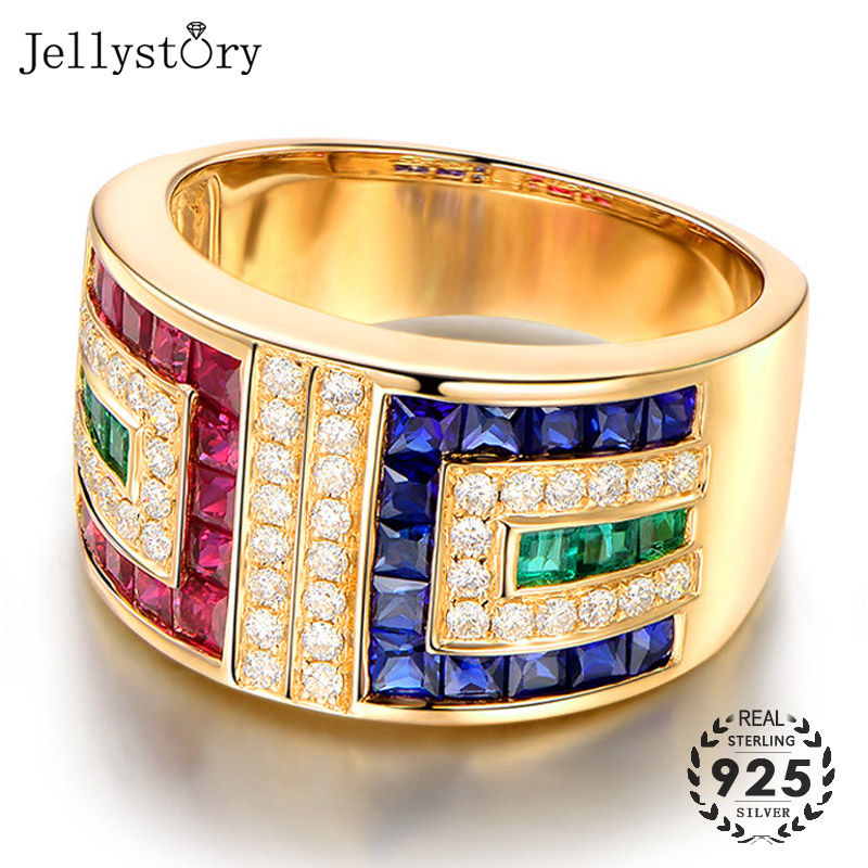Jellystory Vintage 925 Silver Ring with Colorful Topaz Zircon gemstones jewelry Ring for Women Wedding Gifts Rose Gold size 6-10