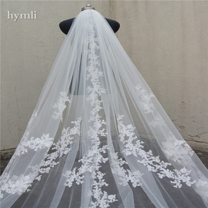 """Image 3 - 118"""" Long, 110"""" Wide 1 Layer Lace Applique Wedding Veil Cathedral Length Bridal Veil with Comb"""