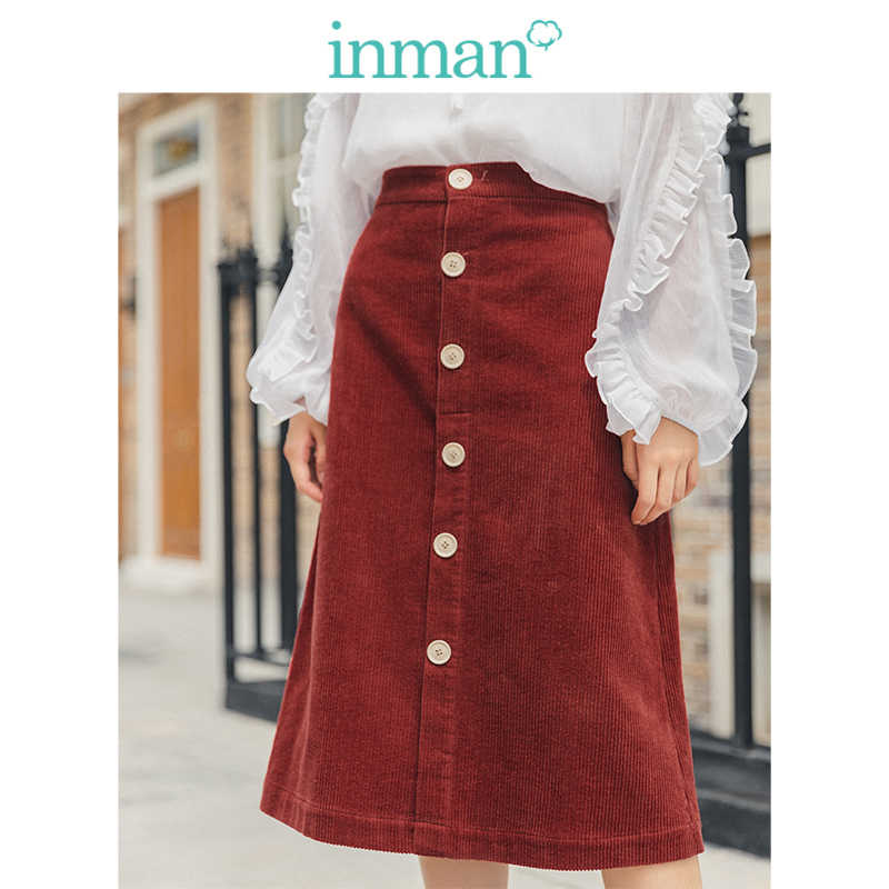 INMAN 2019 Autumn New Arrival Young Literary Style Lyocell Cotton Corduroy Solid Minimalism Retro Women Skirt