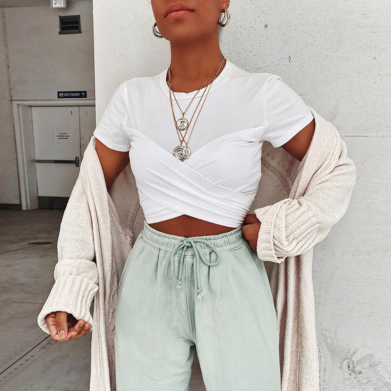 Women O-Neck T-shirt Sexy Shirts Short Sleeve Ruched Crop Tops Modern Office Ladies Classic Streetwear Girls Daily Woman Clothes