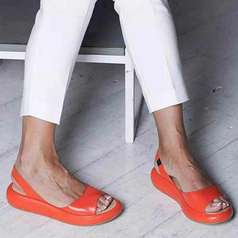 Fujin Giày Sandal Nữ Thời Trang Mùa Hè Đáy Dày Mở Mũi Phẳng Gót Nền Tảng Thoáng Khí Thun Nhân Quả Giày Sandal Nữ