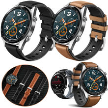 22mm Bracelet For Amazfit GTR Strap Xiaomi Huami gtr Pace Stratos Smart Watch Band Leather + Silicone Watchband