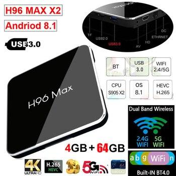 XGODY Android 8.1 Smart TV BOX 4GB RAM 32GB ROM Amlogic S905X2 2.4G Wifi 4K Ultra HD Bluetooth USB3.0 H96 MAX X2