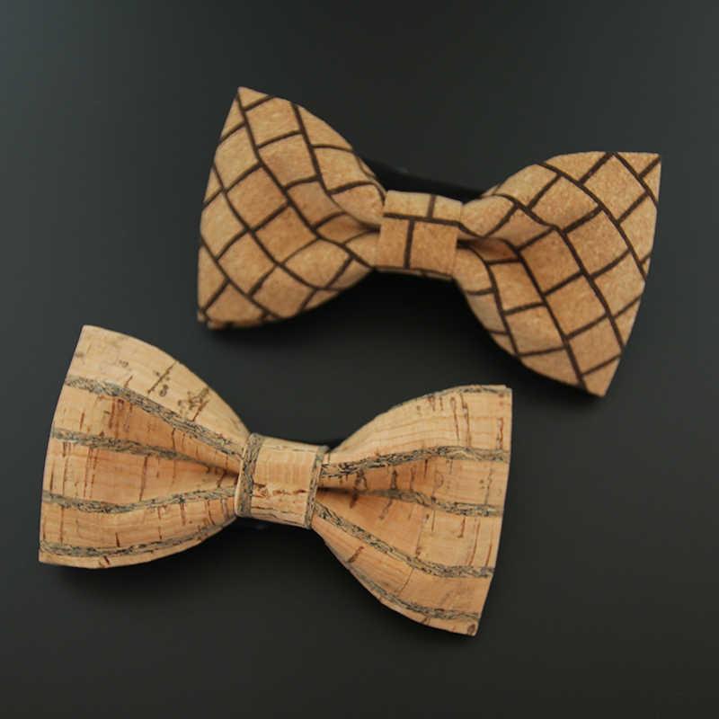 Corbata de Madera para Hombre Hecho a Mano Pajarita de Corcho Elegante Ajustable para Boda Fiesta Ceremonia Regalo Navidad AIEOE