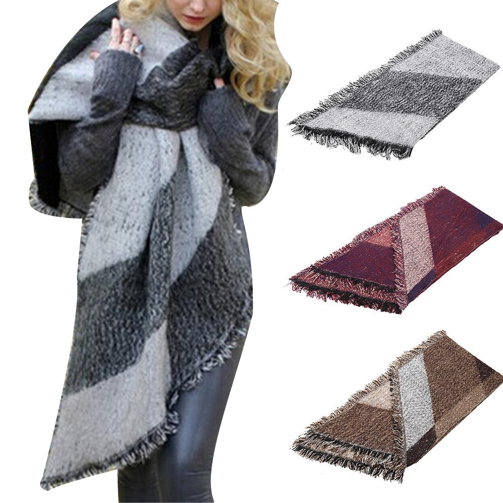 Black And Gray Lattice Autumn And Winter Simple Warm Long Scarves