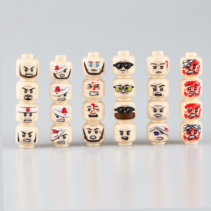 MOC City Face Heads Accessories Building Blocks Military Injured Minifigs Face Heads Block Military Soldier Figures Parts Blocks