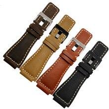 Retro Echtes Leder Uhr Band Strap Gürtel 35*24MM Für Glocke Ross Armband Zubehör ersetzen Für Br01 Br03