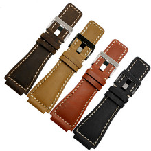 Retro Genuine Leather Watch Band Strap Belt 35*24MM For Bell Ross Watchband Accessories replace For Br01 Br03