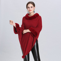 SWYIVY Women's Sweater Autumn Winter Female Solid Color Pullover Cloak Shawl Large Size Sweater Fashion Pullover Cape Manto