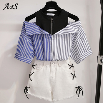 2 Pieces Shorts Sets Summer Sweet Korean Off Shoulder Tops And Shorts 2 Pieces Sets Women Clothing Two Pieces Outfits Plus Size 1