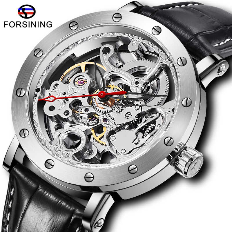 แฟชั่น FORSINING Sliver Skeleton นาฬิกาอัตโนมัติสีดำหนังผู้ชายนาฬิกาข้อมือผู้ชายกีฬานาฬิกา Relogio Masculino