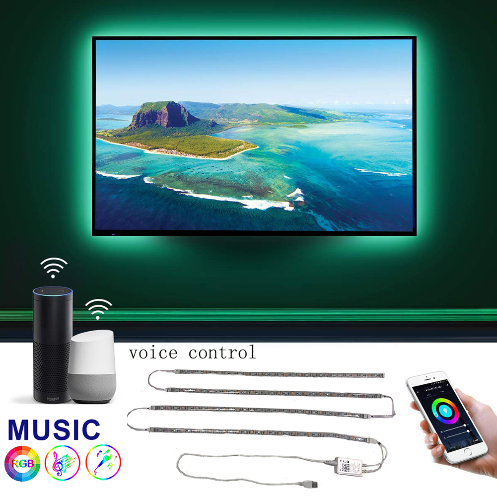 New Music LED Strip Smart Wifi Lights Sync with Smart Life App TV Backlight Kit with Remote Works for RGB Tape Ribbon 16 Colors image