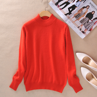 Women Cashmere 2021 New Autumn Winter Vintage Half Turtleneck Sweaters Plus Size Loose Wool Knitted Pullovers Female Knitwear11 9