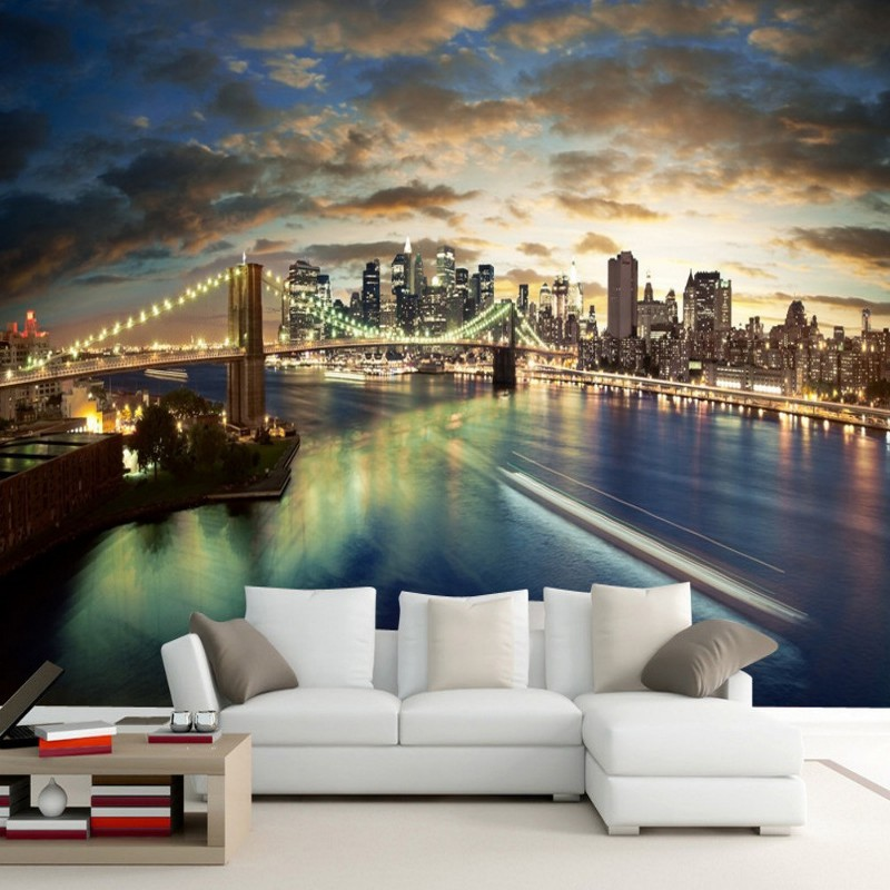 Dropshipping Custom Wallpaper Mural New York Brooklyn Bridge Night Wallpaper Bedroom Wallpapers for Living Room Papel Parede