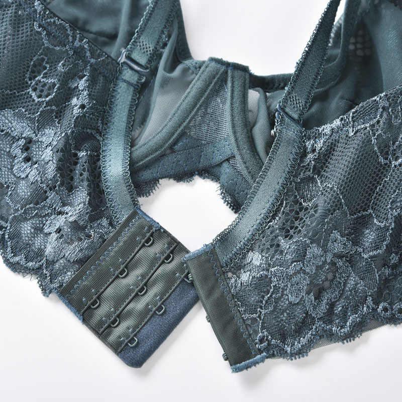 Sujetadores transparentes sexys de gran tamaño de encaje bordado sujetador sin forro ropa interior sin costuras ultrafina para chica