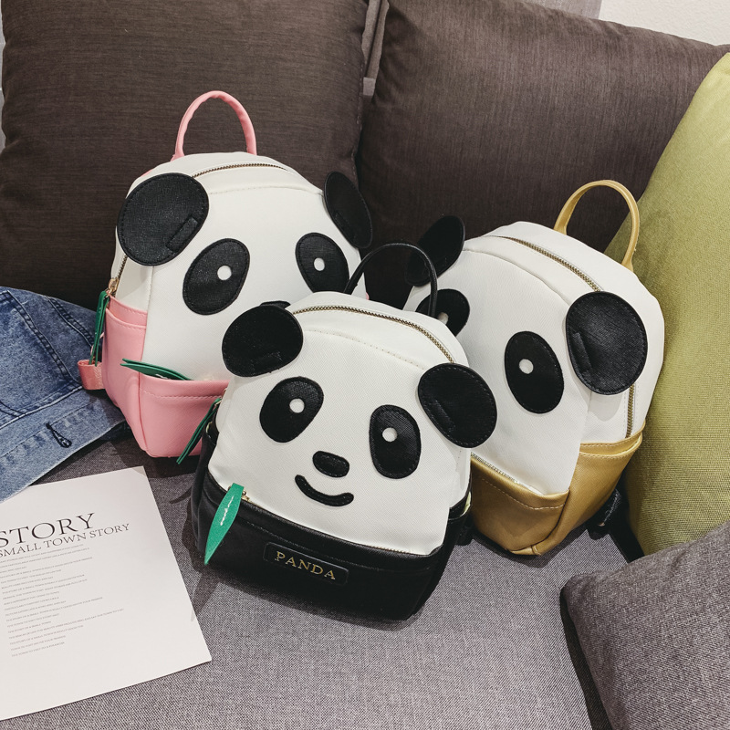 2019 Hot Cartoon Cute Panda Backpack Children's Schoolbags Primary School Pu Leather Small Backpack For Girls Lovely Daypacks
