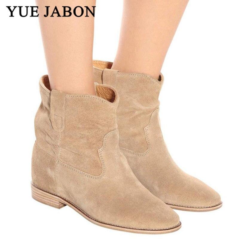 Classique Chelsea rétro Nude daim bottines pour femmes plat/augmentant talons botas mujer confortable hiver zapatos de mujer
