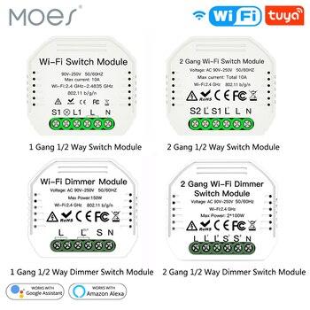 1/2 Way 1/2 Gang Mini WiFi Smart Light Switch Relay Module Smart Life Tuya Wireless Remote Control Work with Alexa Google Home 2pcs lot cdebyte e18 ms1 ipx spi smd 2 4ghz cc2530 wireless zigbee smart home automation module
