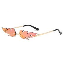 Moda ogień okulary przeciwsłoneczne fala okulary przeciwsłoneczne bezramkowe kobiety mężczyźni Metal Vintage luksusowe lustrzane okulary przeciwsłoneczne tanie tanio NoEnName_Null CN (pochodzenie) WOMEN Punk Dla dorosłych Ze stopu Lustro 26MM Żywica CLL086 69MM