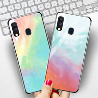 silicone case Tempered Glass Case For samsung galaxy A20 A30 A40 A50 Cases Space Silicone Covers for samsung A5 A6 A7 A8 plus 2018 back cover (2)