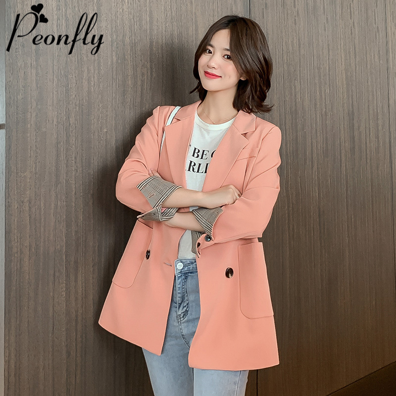 PEONFLY New 2019 Winter Woman Blazer Jacket Coat Double Breasted Cotton Chic Long Suit Female Khaki Blue Casual Cardigan