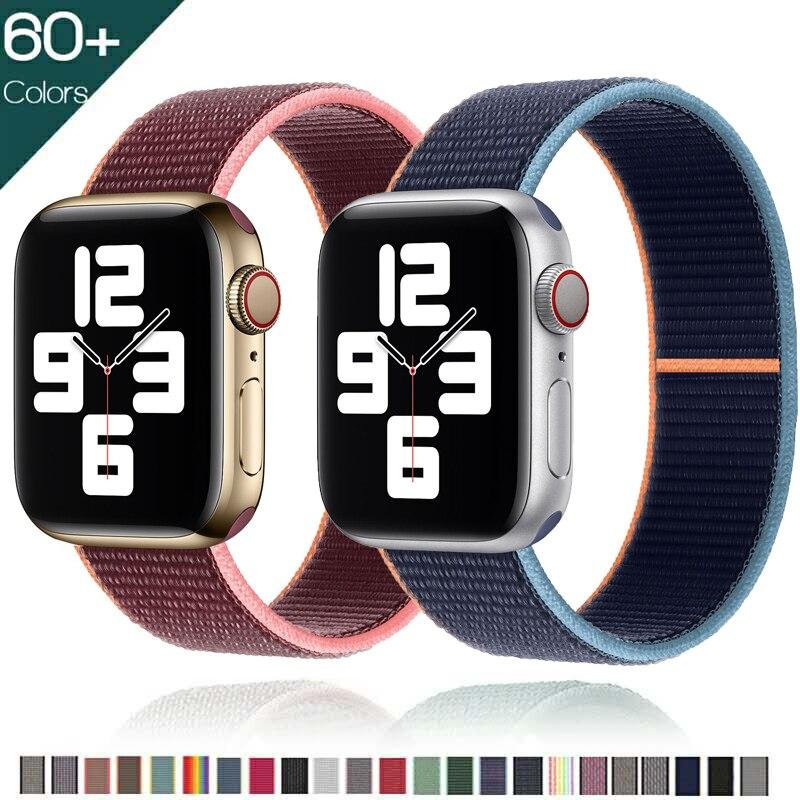 Ремешок нейлоновый для Apple Watch band 44 мм 40 мм 42 мм 38 мм, спортивный браслет для смарт-часов, iWatch Series 4 5 SE 6