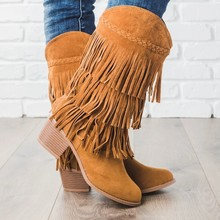 LASPERAL 2019 Bohemian Boho Heel Boot Ethnic Women Tassel Fringe Faux Suede Leather Ankle Boots Woman Girl Flat Shoes Booties(China)