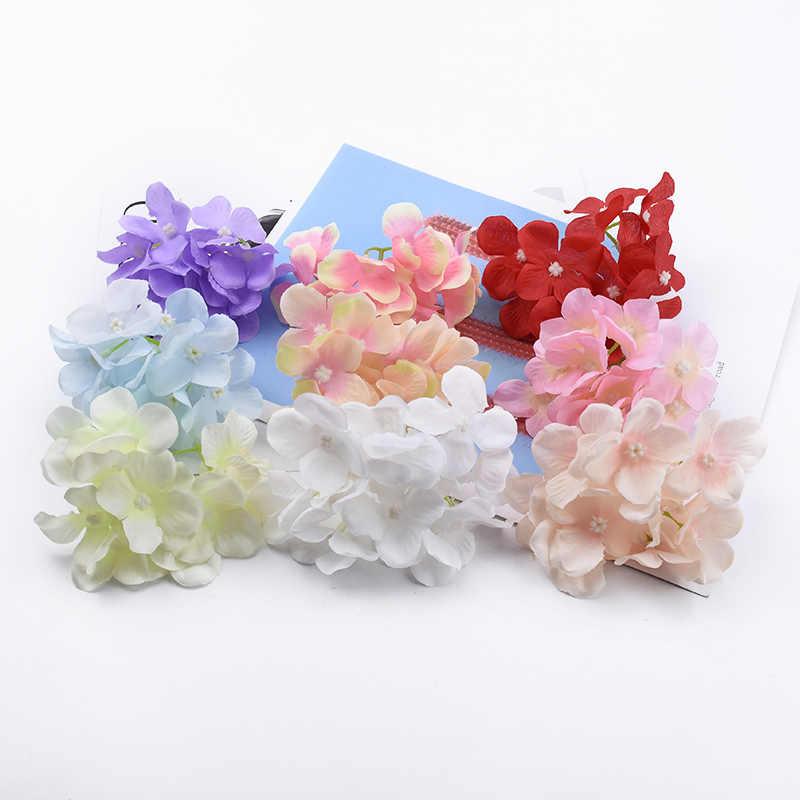 2/5/10 ชิ้นผ้าไหมไฮเดรนเยียดอกไม้ปีใหม่คริสต์มาสตกแต่งบ้านDiy Garlandของขวัญกล่องประดิษฐ์ดอกไม้