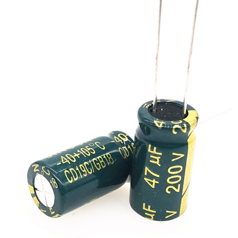 10pcs/lot 200V 47UF 10*20 20% RADIAL Aluminum Electrolytic Capacitor 47000nf 20%
