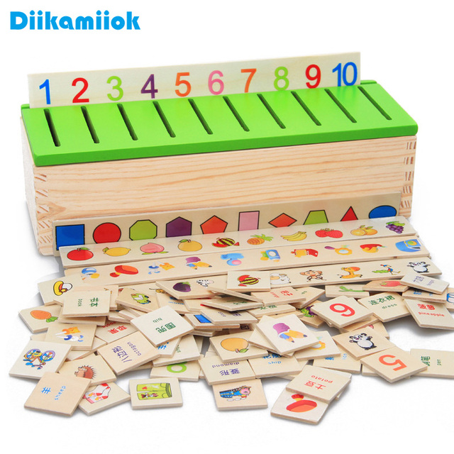 New Wooden Classification Box Animal/ Vehicle/ Fruit/ Digital Matching Game Baby Educational Toys for Children Learning Math Toy