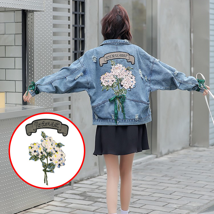 Embroidered Lace Decal Patch Dress Pink Cloth Sticker Decoration Flowers All Over DIY Clothing Repair Hole Sticke