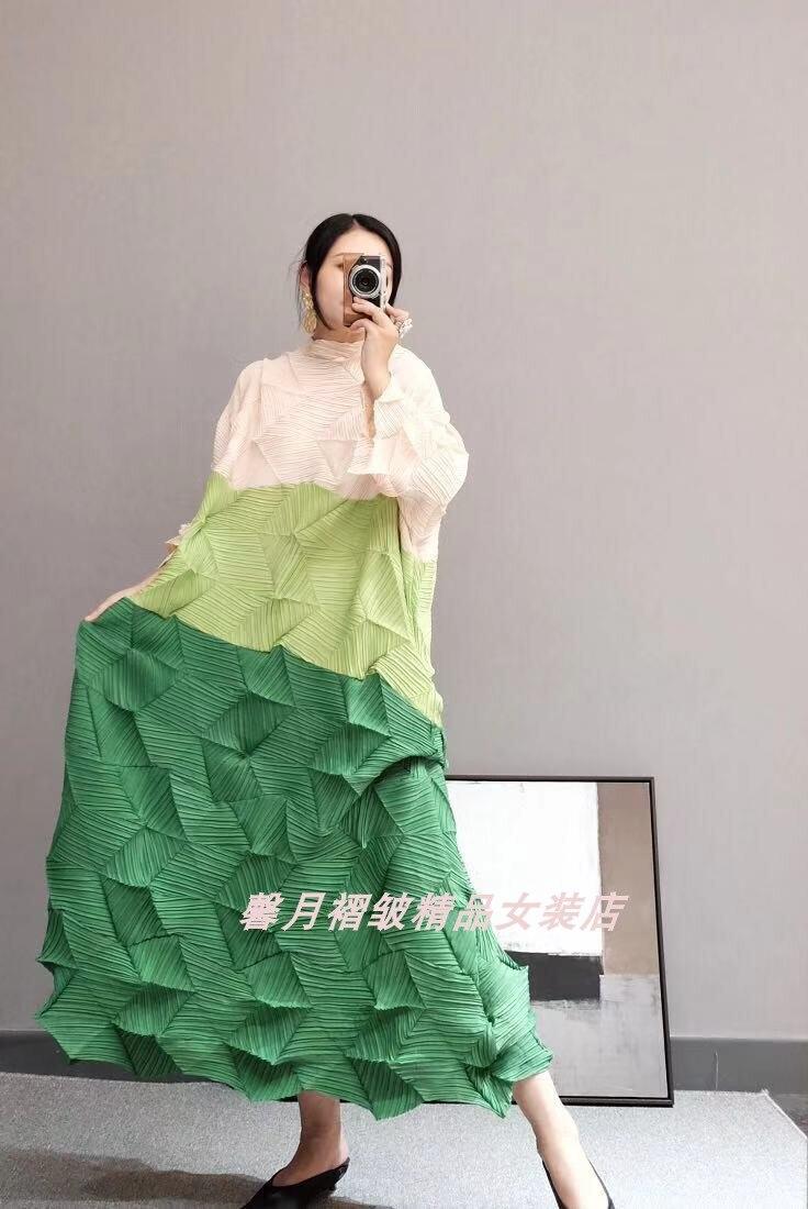 Vestido de Três Vestido em Estoque Venda Quente Miyake Moda Dobra Diamante Pregas Quartos Retalhos Gola Solta Bud