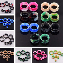 2 pcs/lot Mix Color Thin Silicone Plugs and Tunnels Flexible Double Flared Ear Expanders piercing Body jewelry 3mm
