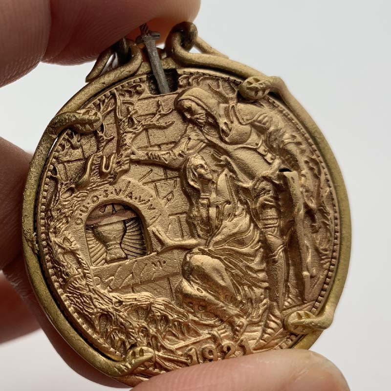 1921 Movable Organ Holy Grail Wandering Coin Brass Pendant Medal Vintage Copper and Silver Knight Draw Sword Coin