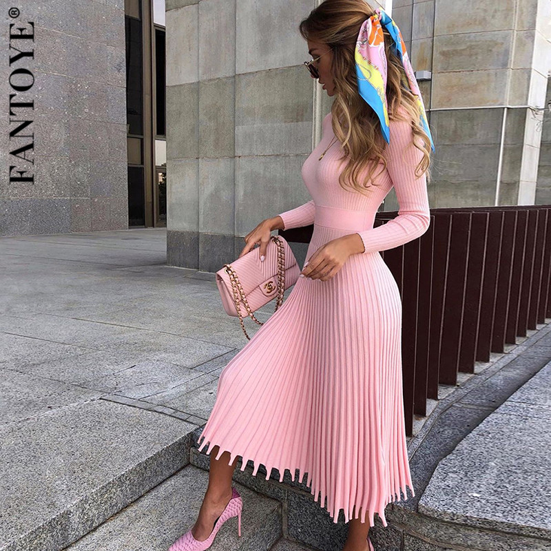 FANTOYE Women Autumn New Knitted Long Dress Ribbed Elegant Midi Bodycon Sweater Dress Official Ladies Bandage Pleated Dresses