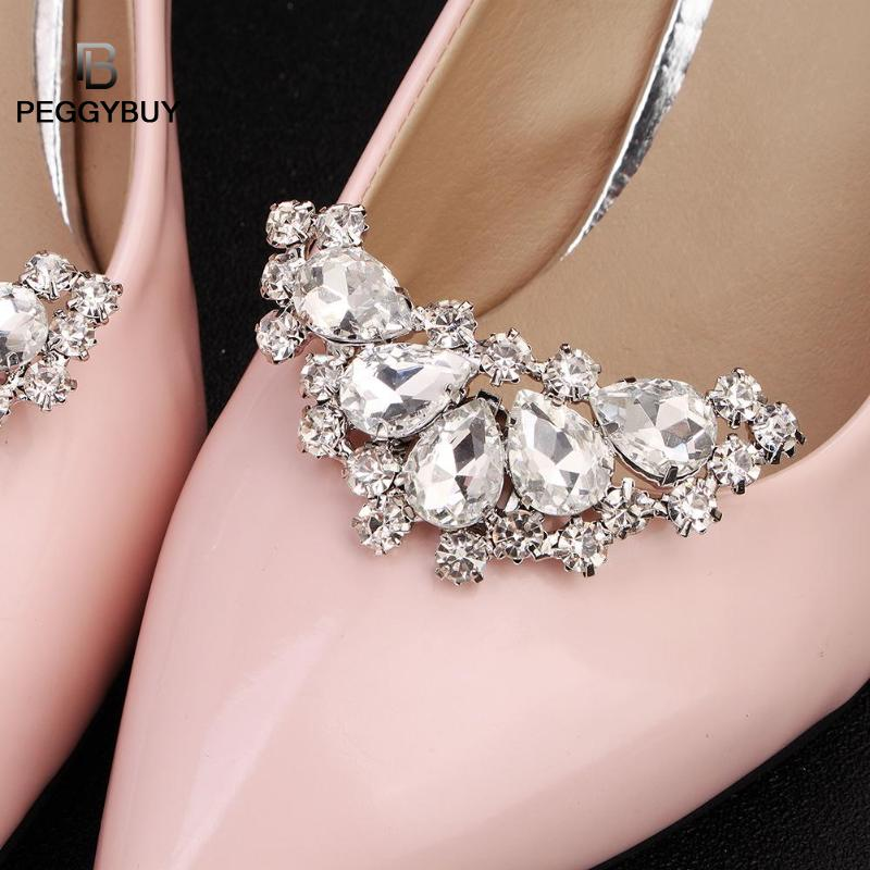 2Pcs Elegant Rhinestone Pearl Shoes Clips Flower Dress Hat Wedding Party Fashion Decoration Dropshipping