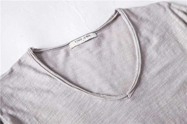 Brand Quality 100% Cotton Men T-shirt V-neck Fashion Design Slim Fit Soild T-shirts Male Tops Tees Short Sleeve T Shirt For Men 5