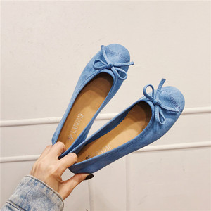 EOEODOIT Round Toe Casual Shoes Women 2020 Spring Autumn Candy Color Flat Heel Knot Ballet Flats Shoes Slip On Loafer Sneakers
